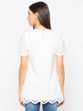 White  Solid Schiffli Short Sleeves Top