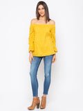 Yellow Solid Schiffli Off-Shoulder Top