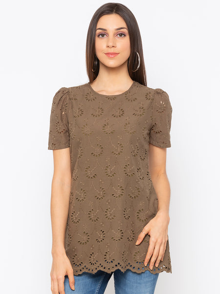 Olive Solid Schiffli Short Sleeves Top