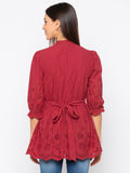 Maroon Solid Schiffli High Neck Top