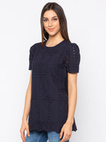 Navy Solid Schiffli Short Sleeves Top