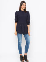 Navy Solid Schiffli High Neck Top