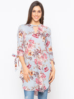 Light Blue Floral Key Hole Neck Top
