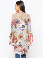 Biege Floral Key Hole Neck Top