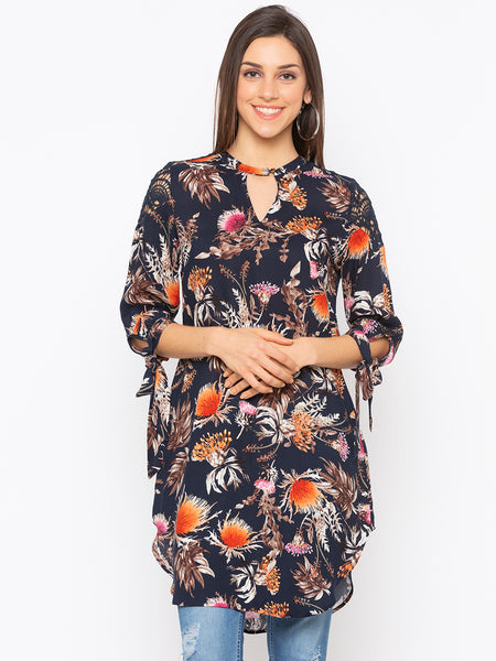 Navy Floral Key Hole Neck Top