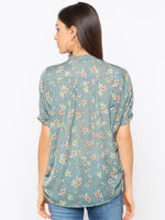 Green Floral High Neck Top