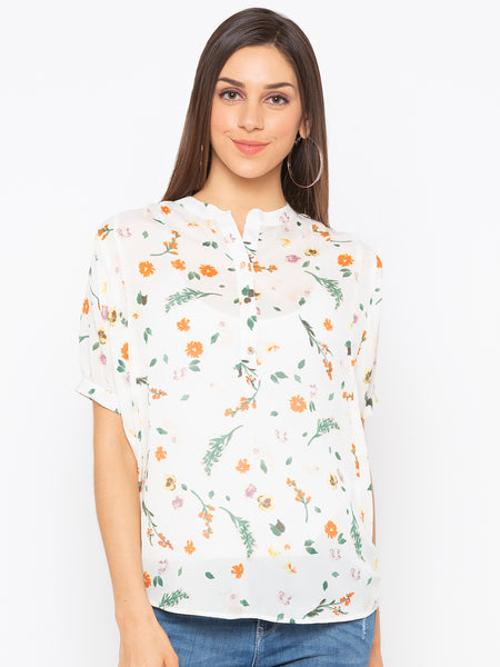 White Floral High Neck Top