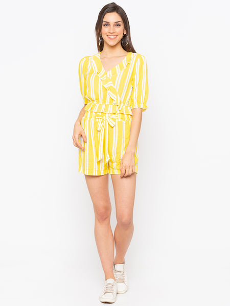 Yellow Stripes Frill Trim Crop Top & Shorts Set