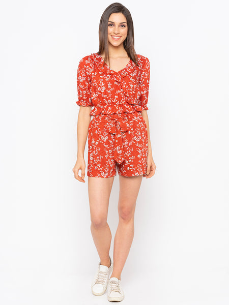 Red Floral Frill Trim Crop Top & Shorts Set
