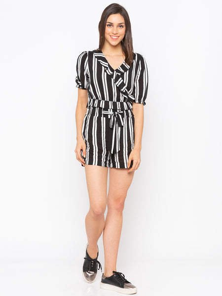 Black Stripes Frill Trim Crop Top & Shorts Set