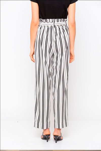 White & Black Stripes Frill Belted Wide Leg Pant