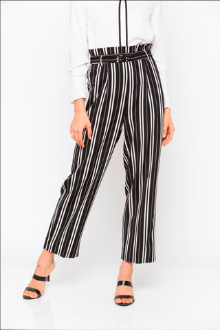 Black & White Stripes Frill Belted Wide Leg Pant
