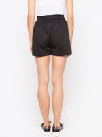 Black Front Tie Up Shorts