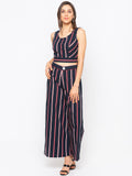 Striped Crop Top & Wide Leg Pants Set