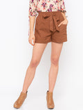 Brown Front Tie Up Shorts