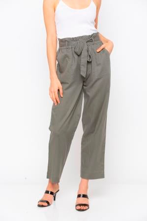 Green Paperbag Waisted Pant