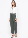 Olive Solid Drawstring Waisted Pant