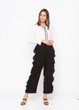 Black Solid Side Frill Trim Pant