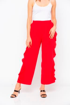 Red Solid Frill Trim Pant