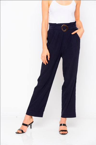 Navy  Solid Buckle Waist Pants