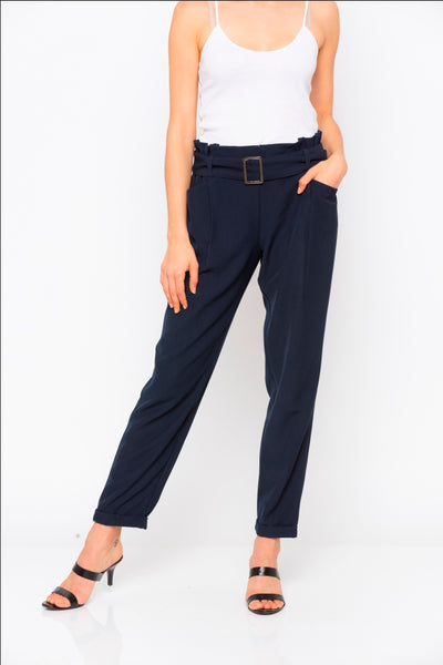 Navy Solid Buckle Waist Pant