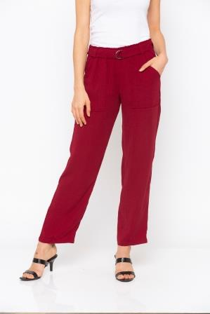 Maroon Solid Belt Waisted Pant