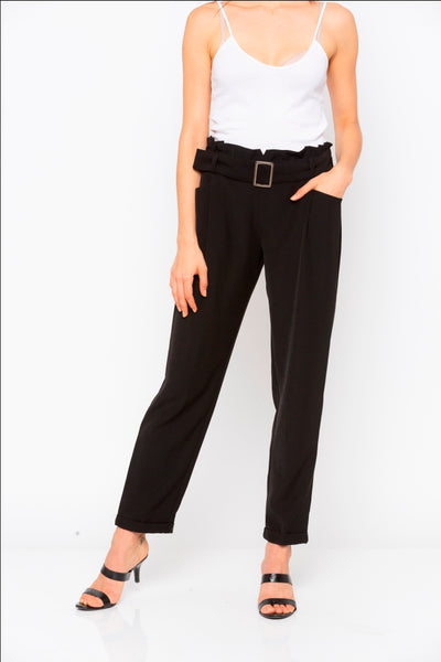 Black Solid Buckle Waist Pant