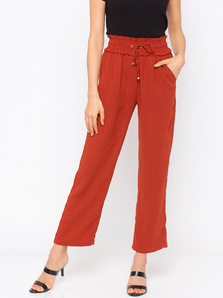 Rust Solid Drawstring Waisted Pant