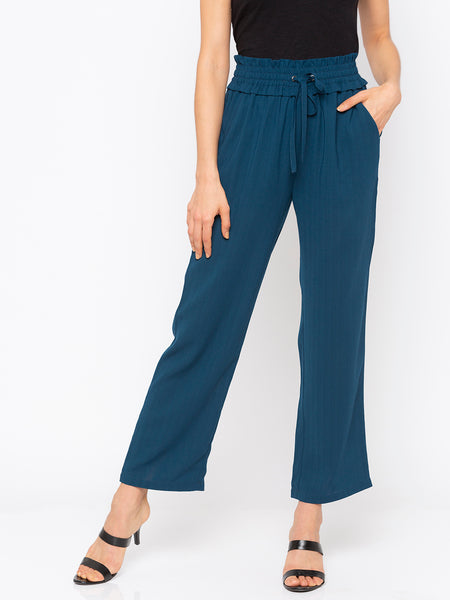 Teal Solid Drawstring Waisted Pant