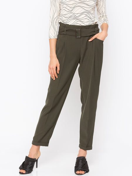 Olive Solid Buckle Waist Pant