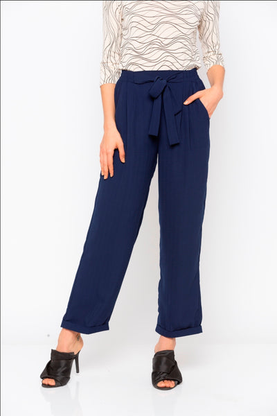 Navy Solid Tie up Waist Pant
