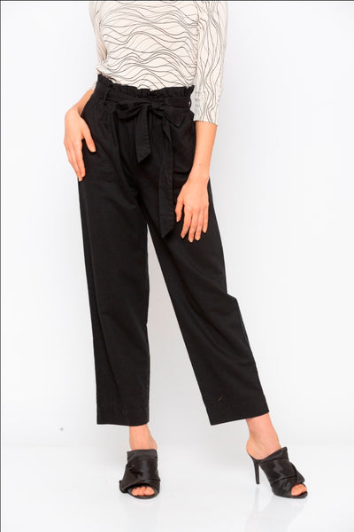Black Solid Tie Up Waist Pant