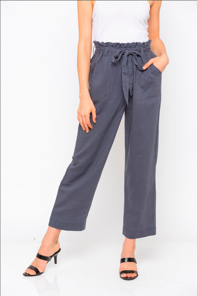Grey Solid Tie Up Waist Pant