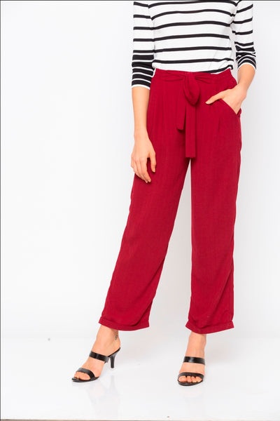 Maroon Solid Tie up Waist Pant