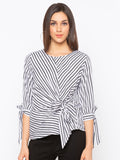 Black & white stripes front tie up top