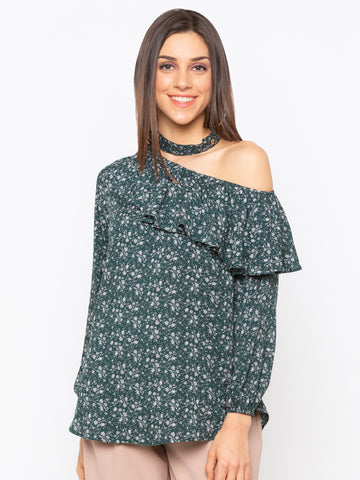 Green Floral One Shoulder top