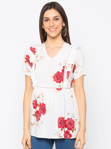White floral frill trim Top