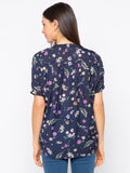 Navy floral balloon sleeves top