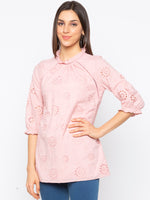 Pink Schiflli High Neck Top