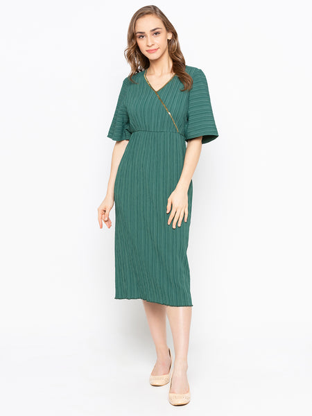 Flutter Sleeve Overlap Front Midi Dress With Embroidery