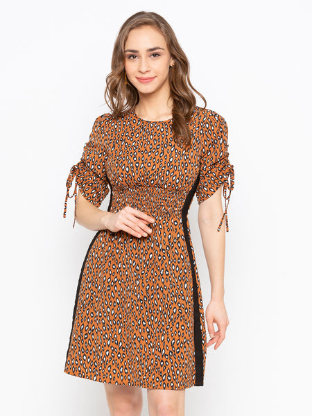 Animal Printed Drawstring Sleeves Smocked Waist Dress