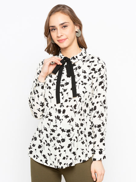 Flower Printed Shirt With Contrast Tie up At Neck