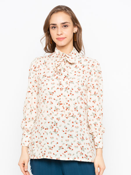 Floral Print Tie Up Neck Front Blouse