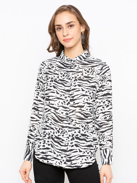 Zebra Printed Shirt With Contrast Patch At Sleeves