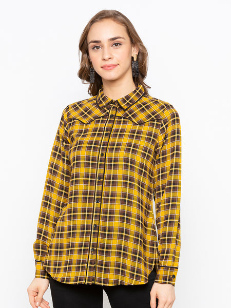 Checks Shirt  With Black Piping