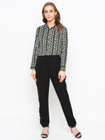 Printed Shirt With Contrast Patch At Sleeves