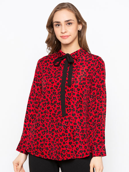 Animal Printed Shirt With Contrast TieUp At Neck