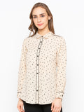 Asymmetrical Dotted Shirt With Contrast Piping