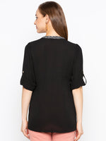 Solid Band Collar Blouse With Contrast Fabric