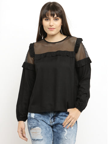 Women's Black Long Sleeves Top